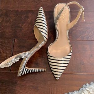 Black & White stripe heels